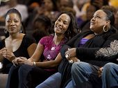 LOS ANGELES, CA. - SEPTEMBER 16: Vivica Fox with friends courtside  during the WNBA playoff game of
