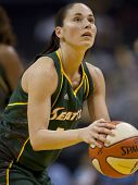 LOS ANGELES, CA. - SEPTEMBER 16: Sue Bird taking a shot during the WNBA playoff game of the Sparks v