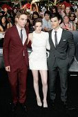 LOS ANGELES, CA. - JUNE 24: Robert Pattinson (L) Kristen Stewart (M) & Taylor Lautner (R) attend The Twilight Saga Eclipse  Los Angeles premiere on June 24th, 2010 at The Nokia Theater in Los Angeles.