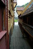 Alleyway In Historic Bergen, Norway poster