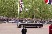 LONDON, UK - APRIL 29: Queen Elizabeth and the Duke of Edinburgh at Prince William and Kate Middleton wedding, April 29, 2011 in London, United Kingdom