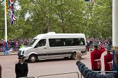 LONDON, UK - APRIL 29: A van on the Mall at Prince William and Kate Middleton wedding, April 29, 2011 in London, United Kingdom