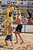 GLENDALE, AZ - SEPTEMBER 27: Olympic gold medalist Phil Dalhausser and Olympian Jake Gibb compete at the AVP Best of the Beach volleyball tournament in Glendale, Arizona