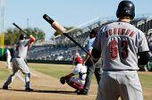 MESA, AZ - NOV 20: Chris Johnson of the Scottsdale Scorpions waits as Mark Trumbo bats in the Arizona Fall League game with the Mesa Solar Sox on November 20, 2008 in Mesa, Arizona.