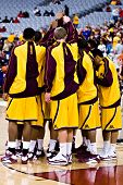 GLENDALE, AZ - DECEMBER 20: The University of Minnesota Gophers basketball team huddles before their