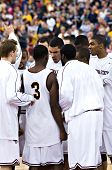 GLENDALE, AZ - DECEMBER 20: The Arizona State University basketball team huddles before their game w