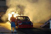CHANDLER, AZ - APRIL 25: A jet powered truck ignites its engine at the Firebird International Raceway on April 25, 2009 in Chandler, AZ.