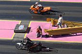 CHANDLER, AZ - OCTOBER 2: Motorcycles compete in the NHRA Pacific Division drag racing championship