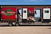 APACHE JUNCTION, AZ - FEBRUARY 26: Truck carrying the Budweiser Clydesdale horses arrives at the Los