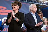 MESA, AZ - MARCH 27: Senator John McCain and former Vice Presidential candidate Sarah Palin attend a