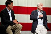 MESA, AZ - JUNE 4: Former Massachusetts Governor Mitt Romney and Senator John McCain appear at a tow