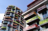 Colourful city apartments