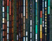 Aerial View Of Colorful Freight Trains poster