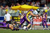 VIENNA,  AUSTRIA - MAY 10: Austrian Football League:  WR Thomas Haider (#13, Dragons) and the Danube