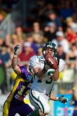 VIENNA - MAY 10:  WR Thomas Haider (#13, Dragons) in action as the Danube Dragons  beat the Vienna V