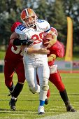 WOLFSBERG, AUSTRIA - AUGUST 20 American Football B-EC: WR Jan Hlavaty( #80, Czech) and his team lose 0:34 against Denmark on August 20, 2009 in Wolfsberg, Austria.