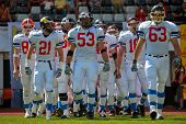 WOLFSBERG, AUSTRIA - AUGUST 18 American Football B-EC: LB Jiri Zavesky (#53, Czech) and his team bea