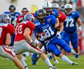 WOLFSBERG, AUSTRIA - AUGUST 18 American Football B-EC: RB Mario Andrioli (#81, Italy) and his team lose 3:34 against Austria on August 18, 2009 in Wolfsberg, Austria.