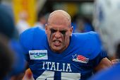 WOLFSBERG, AUSTRIA - AUGUST 16 American Football B-EC: DL James Canetti (#45, Italy) and his team beat Spain 42:7 on August 16, 2009 in Wolfsberg, Austria.