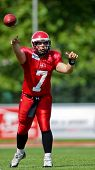 WOLFSBERG, AUSTRIA - AUGUST 18 American Football B-EC: QB Mathias Lilhauge (#7, Denmark) and his team lose 15:30 against Czech Republic on August 18, 2009 in Wolfsberg, Austria.