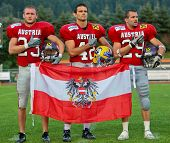 WOLFSBERG, AUSTRIA - AUGUST 18: American Football B-EC: DB Christoph Schreiner (#42, Austria) and his team beat Italy 34:3 on August 18, 2009 in Wolfsberg, Austria.