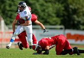 WOLFSBERG, AUSTRIA - AUGUST 18 American Football B-EC: RB Stanislav Jantos (#9, Czech) and his team beat Denmark 30:15 on August 18, 2009 in Wolfsberg, Austria.