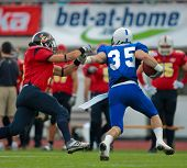 WOLFSBERG, AUSTRIA - AUGUST 16 American Football B-EC: DB Mike Salerno (#35, Italy) and his team beat Spain 42:7 on August 16, 2009 in Wolfsberg, Austria.