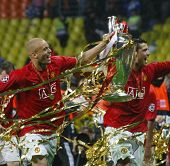 Cristian Ronaldo and Wes Brown at the Champions League Final held at Luzhniki Stadium Moscow 21 May