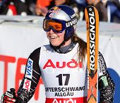 Ofterschwang Germany Lindsey Vonn of the USA in the finish area having just completed the Giant slal