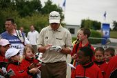 KENT ENGLAND JULY 2 England's David Howell takes time out to do autographs for local children whilst