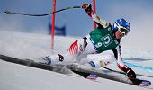 ST MORITZ SWITZWERLAND FEBRUARY 03 Andrea Fischbacher Austria Competing in the Audi FIS Alpine Ski W