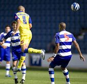 LONDON, UK AUGUST 2, Mirco Gasparetto with a leaping header at the pre-season friendly football matc