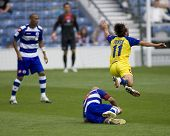 LONDON, UK AUGUST 2,Antimo Lunco flying through the air dramatically after a tackle from Gavin Mahon