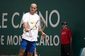 MONTE CARLO MONACO APRIL 22, Ivan Ljubicic CRO v Novak Djokovic SRB competing in the ATP Masters tournament in Monte Carlo, Monaco, 19-27 April 2008