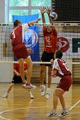 KAPOSVAR, HUNGARY - MAY 28: An unidentified player strikes the ball in the final of the hungarian na