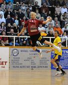 NAGYATAD, HUNGARY - FEBRUARY 5: Tamas Ivancsik (with the ball) in action at Hungarian Cup Handball m