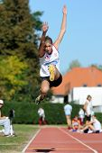 KAPOSVAR, HUNGARY - OCTOBER 3: Unidentified competitors in action at the athletics competition of un