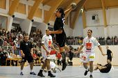 CSURGO, HUNGARY - OCTOBER 21: Tibor Kokeny(with the ball) in action at Hungarian National Handball C