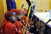 KAPOSVAR, HUNGARY - NOVEMBER 6: Russian players are at a ice hockey match with Hungarian and Russian Youth National Team, November 6, 2009 in Kaposvar, Hungary.