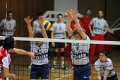 KAPOSVAR, HUNGARY - JANUARY 22: Koch (2) and Kovacs (9) in action at a Middle European League volley