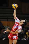KAPOSVAR, HUNGARY - JANUARY 22: Guilherme serves the ball at a Middle European League volleyball gam