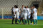 KAPOSVAR, HUNGARY - MAY 8: Gyor players celebrate a goal at a Hungarian National Championship soccer