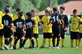 KAPOSVAR, HUNGARY - JULY 19: Competitors shake hands before a VI. Youth Football Festival match Efth