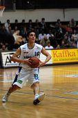 KAPOSVAR, HUNGARY - FEBRUARY 7: Kornel Kiss in action at a Hugarian Cup basketball game Kaposvar vs.