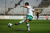 KAPOSVAR, HUNGARY - MAY 9: Pedro Sass (33) in action at a Hungarian National Championship soccer gam
