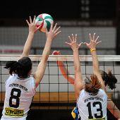 KAPOSVAR, HUNGARY - OCTOBER 10: Dora Kornyei (L) in action at the Hungarian NB I. League woman volleyball game Kaposvar vs Veszprem, October 10, 2010 in Kaposvar, Hungary.