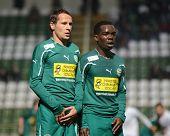 KAPOSVAR, HUNGARY - NOVEMBER 19: Gyor players line up at a Hungarian National Championship soccer ga