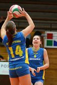 KAPOSVAR, HUNGARY - DECEMBER 19: Dora Ihasz (L) posts the ball at the Hungarian NB I. League woman v
