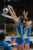 KAPOSVAR, HUNGARY - DECEMBER 19: Szandra Szombathelyi (L) blocks the ball at the Hungarian NB I. Lea