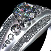 White gold engagement ring with gem with diamond cut. Luxury jewellery bijouterie from silver or pla poster